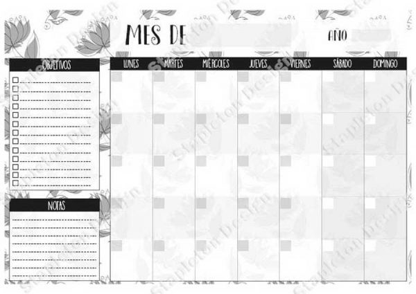 Planner-mensual-gray-flowers